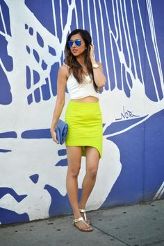 Cuppajyo.com | Jyo loves our Asymmetric Crop! She styled it here with a neon skirt! Check out her blog for other ways she styled with Vamped Boutique!