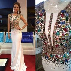 White Miss USA Pageant Evening Gowns Sheath Satin with Colorful Beading Jewel Neck 2017 Long Prom Dresses Formal Occasion Party Dress Cheap Evening Dresses Cheap Prom Dresses Online with 148.0/Piece on Sweet-life's Store | DHgate.com Mermaid Evening Dresses, 2017 Evening Gowns, Mermaid Gown Prom, Cheap Evening Dresses, Long Dresses, Beaded Prom Dress, Prom Dresses 2017, Formal Dresses, Cheap Dress