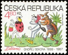 Stamp: Ferda the Ant, Pytlík the Beetle and the Ladybird (Czech Republic) (For Children) Mi:CZ 219 My Roots, Animated Cartoons, Writing Paper, My Heritage, Stamp Collecting, Vintage Cards, Czech Republic, Prague, Postage Stamps