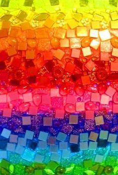 Rainbow mosaic by So Bai Love Rainbow, Taste The Rainbow, Over The Rainbow, Rainbow Colors, Rainbow Stuff, Rainbow Magic, World Of Color, Color Of Life, All The Colors
