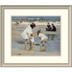 Global Gallery 'Children Playing at the Seashore' by Edward Henry Potthast Framed Painting Print Size: