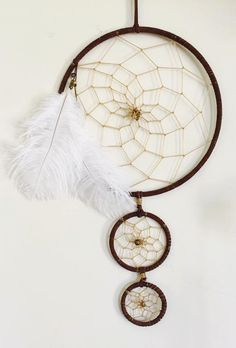 3 tier 8in Brown Natural Dream Catcher by SoulShineLovin on Etsy