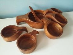 Bekijk dit items in mijn Etsy shop https://www.etsy.com/nl/listing/260778133/lovely-wooden-retro-snack-bowl-set-7-pcs