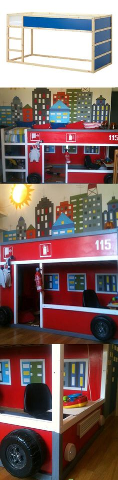 E wants his IKEA bed to be converted to fire engine - phew. IKEA Child's Loft Bed Converted to Fire Engine Ikea Kids, Man Room, Girl Room, Bedroom Themes, Kids Bedroom, Fire Truck Room, Firefighter Room, Ikea Kura Bed, Creative Kids Rooms