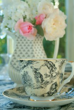 Transferware teacup and saucer