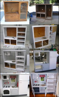 Wonderful DIY Play Kitchen from TV cabinets Here is a wonderful DIY idea for play kitchen from TV cabinets.Play kitchen are popular among parents and preschools because they offer imaginative role Diy Kids Kitchen, Diy Kitchen Projects, Kitchen Design, Diy Projects, Kitchen Craft, Woodworking Projects, Kitchen Ideas, Diy Furniture Hacks, Furniture Projects