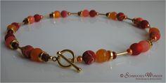 Ketten kurz - Rotes Gold - Kette Koralle Gold Polaris Achat - ein Designerstück von Schmuckes-Wunder bei DaWanda