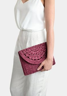 Best 11 Crochet raffia clutch bag, handcrafted with care. Fully lined with thick cotton blend fabric, closes with bronze metal magnetic button. Optional crochet shoulder strap available upon request. COLOR: Here shown in Plum Red Single Crochet Stitch, Basic Crochet Stitches, Crochet Basics, Hand Crochet, Crochet Lace, Crochet Summer, Crochet Clutch Bags, Crochet Handbags, Crochet Purses