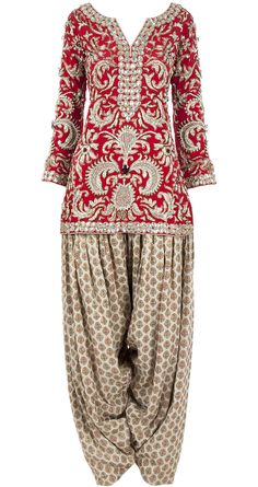 Red and beige embellished kurta set by PAYAL SINGHAL. http://www.perniaspopupshop.com/designers-1/payal-singhal