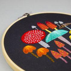 toadstool embroidery hoop, toadstool embroidery, contemporary embroidery, contemporary embroidery hoop, mushrooms, Maggie Magoo, MaggieMagoo,