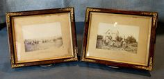 Lot of 2 Antique Period Photographs On Cardboard With Square Nail Frames