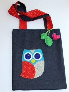 Owl Applique Denim Tote Bag