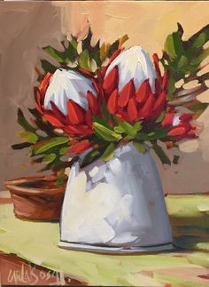 Floral Art Oil Painting - Vase of Proteas by Carla Bosch