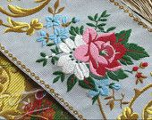 Incredible Antique Ribbon tapestry sample for chateau chic, assembly, red & pink roses, forget me knots, supplies, cushion upholstery