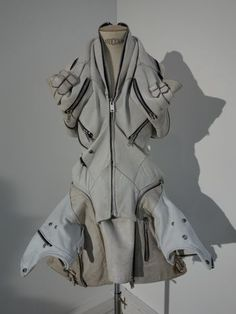 Sustainable Fashion Design - wearable art from recycled & repurposed materials; sculptural dress refashioned from deconstructed leather garments // Jun Takahashi