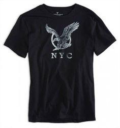 Camiseta American Eagle Men's Ae Nyc Graphic T-Shirt True Black #Camisetas #AmericanEagle