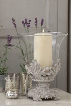 Lavender Cottage: and candles. French Decor, French Country Decorating, Candle Lanterns, Pillar Candles, Hurricane Candle, Chandelier Bougie, Lavender Cottage, Vibeke Design, Deco Addict