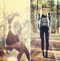 oversize tribal sweater, band tee, & black jeans