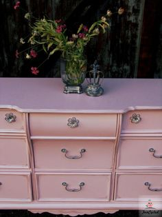 Pink Dresser for a Baby Girls Room by FunCycled