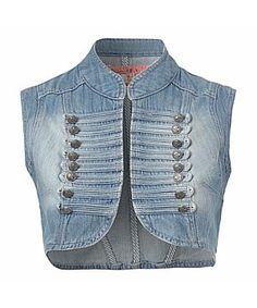 Mandarin collar Cropped Denim Jacket, Mandarin Collar, Vest, Jackets, Fashion, Down Jackets, Moda, Fashion Styles, Fashion Illustrations