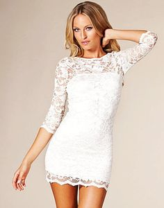 3/4 Sleeve White Lace Dress for Girls