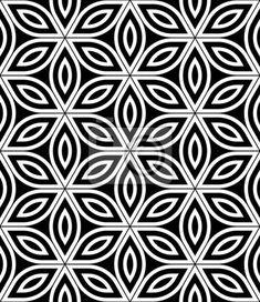 Vinilo Moderno del vector sin fisuras patrón de geometría sagrada, blanco y negro abstracto de la flor geométrica del fondo de la vida, la impresión del papel pintado, blanco y negro retro textura, diseño de moda del inconformista