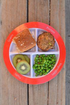 Mini turkey-loaf, peas, kiwi, and whole wheat roll on #myplate