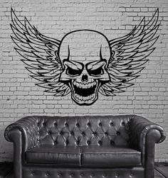 Skull Wall Stickers Decal Wings Death Cool Tattoos Decor for Room (ig493)