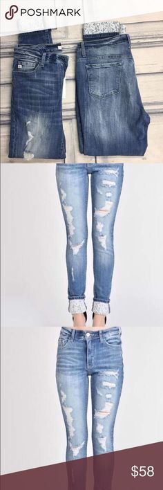 Lace Kancan jeans Super cute lace detail skinny jeans. Good stretch, cuff them to show the lace or Uncuff them. Distressed. Best seller! Pants Skinny