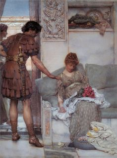 Page: A Silent Greeting  Artist: Sir Lawrence Alma-Tadema  Completion Date: 1889  Style: Romanticism  Genre: genre painting  Technique: oil  Material: canvas  Gallery: Tate Gallery, London, UK
