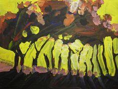 Back lit trees, acrylic painting