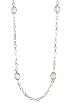 Sterling Silver White Mother of Pearl Station Necklace