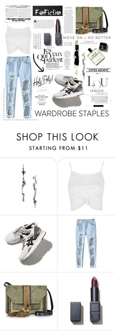 """wardrobe staples: white shirt. <3"" by tatjana ❤ liked on Polyvore featuring Topshop, Asics, Chicnova Fashion, L'Autre Chose, NARS Cosmetics, whiteshirt, WardrobeStaples and wardrobebasics"
