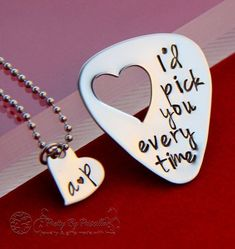 """Gifts For Him Anniversary gift for men -Unique Gift for Boyfriend/Husband -Hand Stamped Guitar Pick """"I'd pick you every time""""- Heart cut out – Item 001 Unique Gifts For Boyfriend, Boyfriend Gifts, Gifts For Dad, Great Gifts, Unique Gifts For Men, Valentine Day Gifts, Christmas Gifts, Valentines, Christmas Sale"""