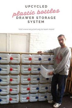 Thomas made this storage system from 40 big plastic bottles he found in a container. This kind of bottles is … Thomas made this storage system from 40 big plastic bottles he found in a container. This kind of bottles is … Garage Tool Storage, Workshop Storage, Garage Tools, Garage Workshop, Garage Organization, Organization Ideas, Storage Ideas, Boot Storage, Garage Shop
