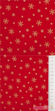 lovely blender fabric for Christmas, red shirting cotton with metallic gold colored snowflakes in different sizes, 100% cotton, high quality fabric from Japan #Cotton #Items #Metallic #JapaneseFabrics