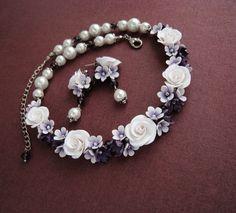 Collar flower necklace Polymer clay flower necklace Unique original handmade artisan jewelry Bridal party jewelry set Purple jewelry set