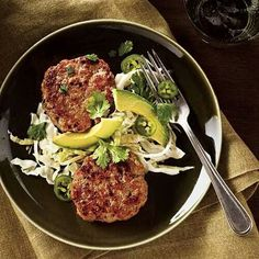 Burgers with avocado salad
