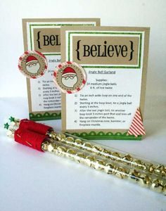 SRM Stickers: Tubes:  Melanie Jarocki created these wonderful Christmas jingle bell wands using SRM's Magic Wand and Believe Quick Card.