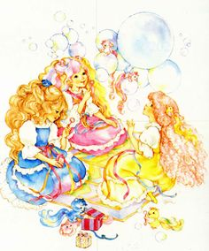 Maiden FairHair, Lady LovelyLocks, & Maiden CurlyCrown blowing bubbles.