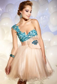 turkuaz ve şampanya renkli saten ve tüllü abiye mini kabarık elbise