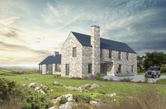 Drumhurt is a proposal for a contemporary house near Cootehill in rural Co. The design takes influence from the rural architecture of the area and is designed to meet the brief of a young family. Bungalow Exterior, Cottage Exterior, Modern Farmhouse Exterior, Cornwall House, House Designs Ireland, Farmhouse Architecture, Rural House, House Extensions, Home Fashion