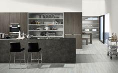 Combine melamines Graphite Denver Oak with Pearl Grey and the countertop Terra Tessina Ceramic. Pearl Grey, Countertops, Ceramics, Graphite, Denver, Kitchen, Table, Furniture, Design