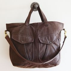 Hudson repurposed vintage leather tote bag // reMade USA by Shannon South // made in USA #recycled #upcycled #reclaimed
