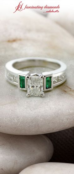 Parallel Grid Ring || Radiant Cut Diamond Side Stone Ring With Green Emerald In 14K White Gold