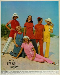 1970s vicky vaughn sports wear color photo print ad vintage fashion style pant suit tunic top shirt red yellow pink white jean