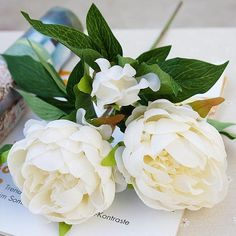 Artificial Flowers Silk Flower Peony Fake Leaf Wedding Home Party Autumn Decora Plastic Flowers Household Products Fake Plants