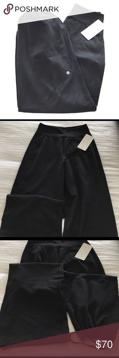 Lululemon sit in stillness pant Lululemon sit in stillness pants. High waisted relaxed wide leg pants in four way stretch Luon. Waistband pocket, drawcord at hem, and Lycra for stretch. NWT. Sz 10. Comes with lulu shopping bag. lululemon athletica Pants Wide Leg