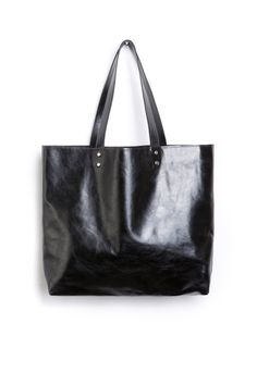 Shiny black leather tote - very classic one! Black leather bag   Leather  Tote   3a62664fa2