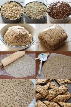 Free Brown Rice, Quinoa and Seeds Crackers - Totally want to make some of these things!Gluten Free Brown Rice, Quinoa and Seeds Crackers - Totally want to make some of these things! Gluten Free Crackers, Vegan Crackers, Rice Cracker Recipe, Raw Food Recipes, Gluten Free Recipes, Vegan Snacks, Healthy Snacks, Plats Healthy, Roh Vegan